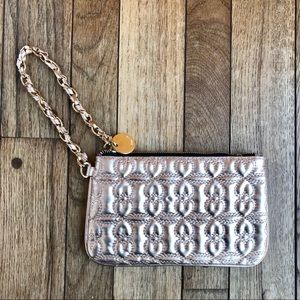 Deux Lux Rose Gold Shimmery Quilted Heart Wristlet